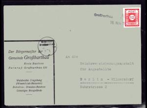 SBZ, Fernbrief mit Notstempel Großharthau
