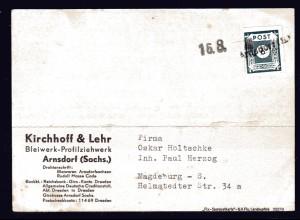 "SBZ, Fernkarte mit Notstempel Arnsdorf ""a"""