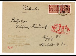 Drucksahe Orts-Brief mit Me.F. Mi.-Nr. 126ya, Mit Propaganda-St.