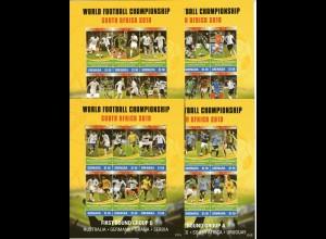 Fußball-WM 2010 Grenada 4 Kleinbögen + 2 Blocks