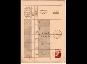 SBZ 20 Pfg. Köpfe1 als EF auf Seite eines Einlieferungsbuches