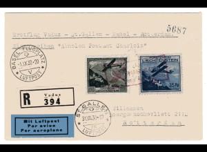 Liechtenstein 111 und 112 auf Erstflug-R-Brief