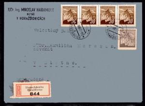 B&M, Eingeschriebener-Fernbrief mit Mi.-Nr. 72 ua