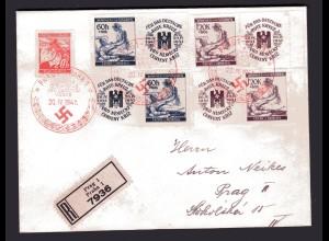 B&M, Eingeschriebener-Brief mit Mi-Nr. 62, 63 mit Zf.