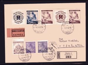 B&M, R-Eilbote-Brief mit Mi-Nr. 63 Zd 14 mit Ak-St.