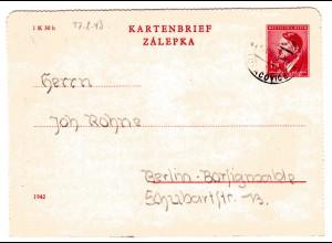 B&M Kinderlandverschickung / Kartenbrief aus Luhatschowitz nach Berlin