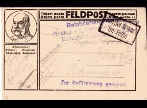 """Feldpost-Karte, Zensür """"Zur Beförderung geeignet"""". Clem. 1263a, Wolter 9a"""