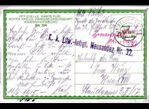 "Feldpost-Karte, Handschriftliche Zensur, ""Schubert., Leutnant""-Clement"