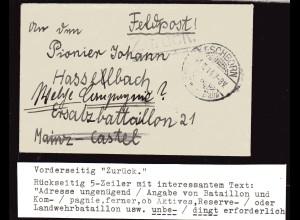 Feldpost-Brief, Zensiert, Rückseitig interessantem Text.