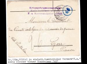 Kriegsgefangenensendung 1. Weltkrieg, Zensiert Nr.126a, Soltau in Violett.
