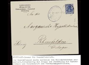Zensurpost, 1 Weltkrieg, Stuttgart-Zensur, Marke mit Lochung.