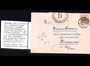 Zensurpost, Dresden Nr. 23, nach Wien mit Inhalt.