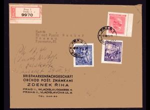 B&M, Eingeschriebener-Satzbrief mit Mi-Nr. 128-30