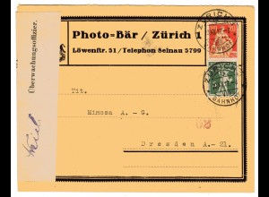 """Zensurpost, 1 Weltkrieg, Schweiz """"... unterKriegsrecht geöffnet"""""""