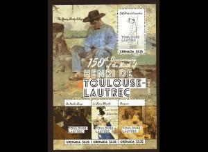 Grenada 2 Blocks zum 150 Geburtstag von Henri de Toulouse-Lautrec