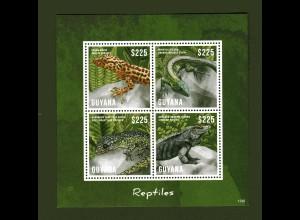 Guyana, Block und Kleinbogen Reptile