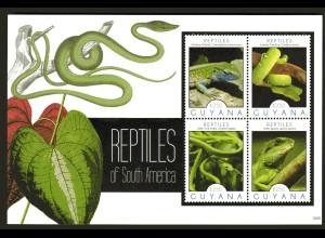 Guyana Block und Kleinbogen Reptile
