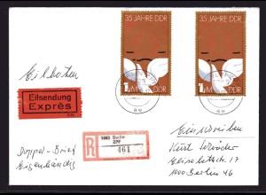 DDR., Me.F. Mi.-Nr. 2902 auf R-Eilbote-Ortsbrief mit AK-St.