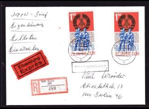 DDR., Me.F. Mi.-Nr. 1983 auf R-Eilbote-Ortsbrief mit AK-St.
