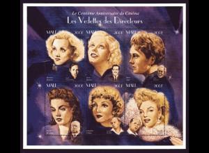 100 Jahre Cinema (weibliche Stars, u,a, Marlene Dietrich), Kleinbogen, Mali