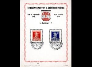 Ereigniskarte: Cottbuser Gewerbe- und Briefmarkenschau 1947