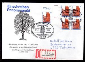 Berlin 874 portorichtig 5x auf Fernbrief, dabei 2 waager. Paare