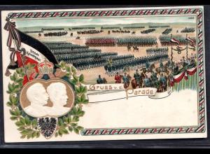 Unser Kaiserpaar - Gruss v. d. Parade