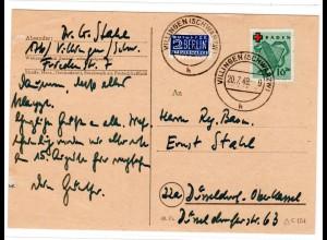 Baden, Fern-Karte mit EF. Mi.-Nr. 42