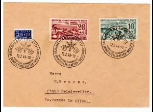 Württemberg, Fern-Brief mit Mi.F. Mi.-Nr. 38 + 39 + Notopfermarke Berlin