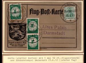 DR., Rhein-Main Flug.-Karte Mi.-Nr. III (3X) ab Darmstadt.