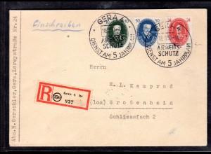DDR, R-Brief mit Mi.-Nr. 265, 269, 270 mit AK-St.