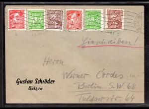 SBZ., MVP Mi.-Nr. 23-25 a+b auf Brief mit PFl.