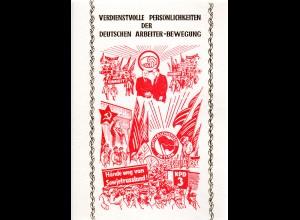 DDR-Gedenkblatt, Verdienstvolle persönlichkeiten der Deutschen Arbeiter-Bewegung