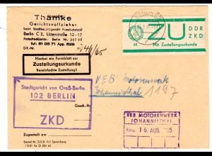 ZKD-Gerichts-Brief mit Zustellurkunde