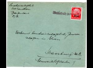 """Dt. Besetzung Elsaß; Bedarfsbrief mit Notstempel """"Breitenbach"""""""