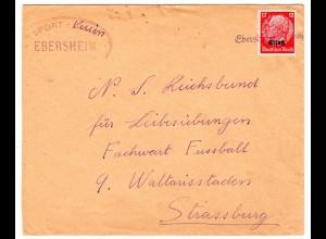 "Dt. Besetzung Elsaß; Bedarfsbrief mit Notstempel ""Ebersheim"""