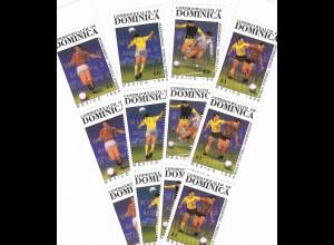 Dominica Fußball-WM Mexiko 1986 Satz und Block mit Aufdruck
