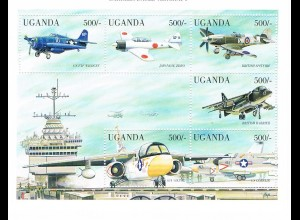 Uganda: Militärflugzeuge; 2 Kleinbögen