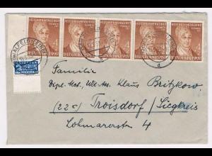 Bund, MeF Helfer der Menschheit 1952; 5-er Streifen auf Fernbrief