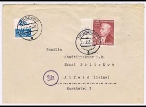 Bund, Helfer der Menschheit 1952 20 Pfg. auf Fernbrief; Randstück