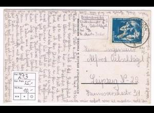 DDR: EF Mansfeld 12 Pfg. 1950 auf Fernkarte