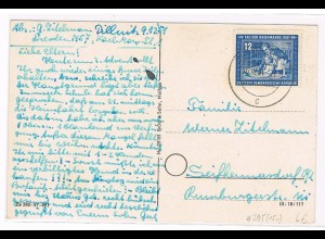 DDR: EF Tag der Brfmarke 12 Pfg. 1951 auf Fernkarte