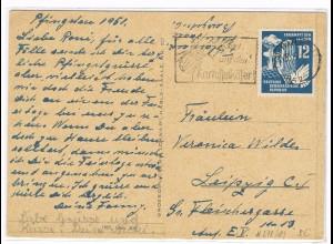DDR: EF Friedenskampf 12 Pfg. 1951 auf Fernkarte
