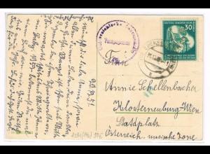 DDR: EF Weltfestspiele 30 Pfg. 1951 auf Auslandskarte