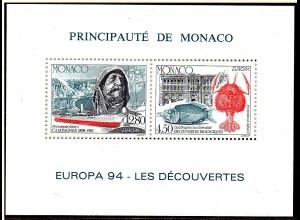 Monaco: Sonderdruck Europa 94, gez., **