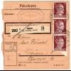 Hitler; 15 Pfg. als reine Mehrfachfrankatur auf Paketkarte
