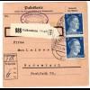 Hitler; 25 Pfg. als reine Mehrfachfrankatur auf Paketkarte