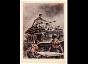 Gel. Feldpostkarte mit heroischer Wehrmachts-Darstellung