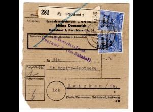 SBZ Masch.-aufdruck AS 50 Pfg. als MeF auf Paketkarte
