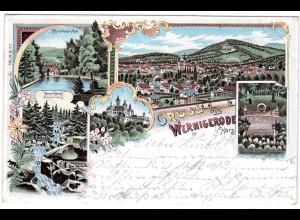 "Wernigerode / gel. Lithokarte ""Gruss aus..."""